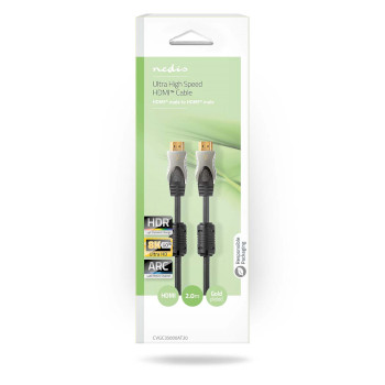 Ultra High Speed HDMI™ Cable | HDMI™ Connector - HDMI™ Connector | 2.0 m | Anthracite
