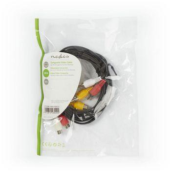Cable de Vídeo Compuesto | 3x RCA Macho - 3x RCA Hembra | 3,0 m | Negro
