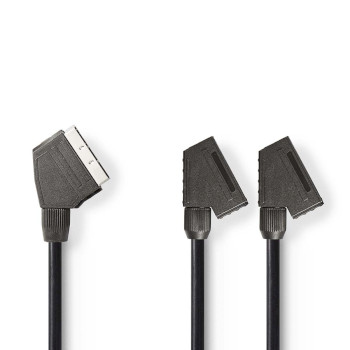 SCART-Kabel | SCART Male - 2x SCART Female | 0,2 m | Zwart