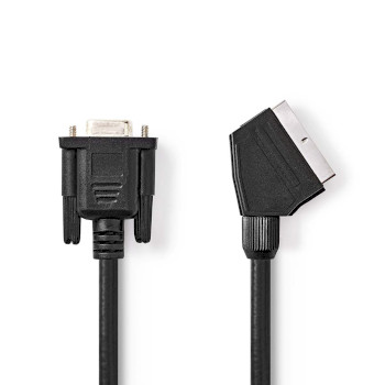 Cable SCART-VGA | SCART Macho - VGA Hembra | 2,0 m | Negro