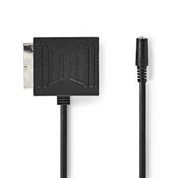 Adaptador SCART | SCART Macho - SCART Hembra + 3,5 mm Hembra | 0,2 m | Negro