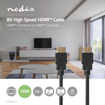 Ultranagy Sebességű HDMI™ Kábel   HDMI™ Csatlakozó - HDMI™ Csatlakozó   2,00 m   Fekete