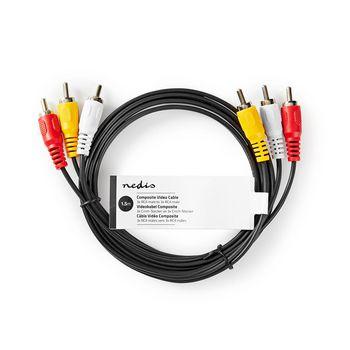 Composite Video Cable | 3x RCA Male | 3x RCA Male | 1.5 m | Black