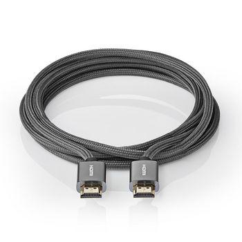 High Speed HDMI™-Kabel met Ethernet | HDMI™ Connector | HDMI™ Connector | 4K@60Hz | 18 Gbps | 1.00 m | Rond | Katoen | Gunmetal/Grijs | Cover Window Box