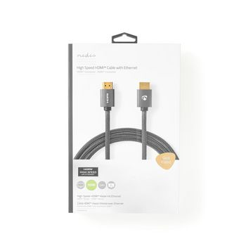 High Speed HDMI™ Cable with Ethernet | HDMI™ Connector | HDMI™ Connector | 4K@60Hz | 18 Gbps | 2.00 m | Round | Cotton Fabric | Gunmetal/Grey | Cover Window Box