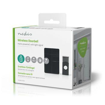 Wireless Doorbell Set | Mains Powered | Light Signal | Black