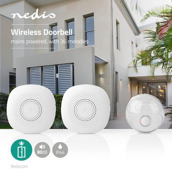 Wireless Doorbell Set | Mains Powered | 36 Melodies | 2x Receiver