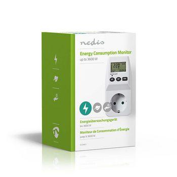 Energieverbruiksmeter | Batterij Gevoed / Netvoeding | 16 A | Accumulatief stroomverbruik (W) / Ampère (A) / Energiekosten / Frequentie (Hz) / Gebruikstijd / Spanning (V) / Vermogensfactor (PF) / Werkelijk stroomverbruik (W) | Apparaat stroomoutput: Type F (CEE 7/3) | Kleur | 1,5 V / 230 V AC 50 Hz | Materiaal: Kunststof | 3600 W | Type-F (CEE 7/7)