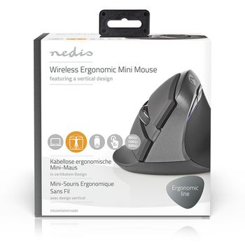 Ergonomic Wireless Mouse | Mini | 1600 dpi | 6-Button | Black