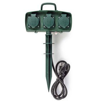 Stekkerdoos voor de Tuin | 3-weg | 1,5 m | Groen