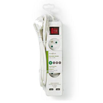 Power Strip | 3-Way French | 2x USB | 1.5 m 3x 1.5 mm² | On/Off Switch | White