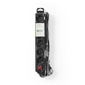 Stekkerdoos | Beschermend contact met aan/uit-schakelaar | 6-wegs | 3,0 m | Zwart