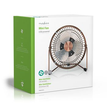 Stolní Ventilátor | Napájení z USB | Průměr: 15 cm | Výška: 18.5 cm | 3 W | 5 V DC | Počet nastavení rychlosti: 1 | Měď
