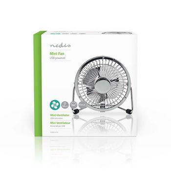 Metal Mini Fan | 10 cm Diameter | USB powered | Chrome