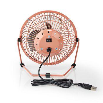 Kovový Mini Ventilátor | Průměr 15 cm | Napájení přes USB | Starorůžový