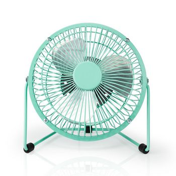 Metal Mini Fan | 15 cm Diameter | USB Powered | Turquoise