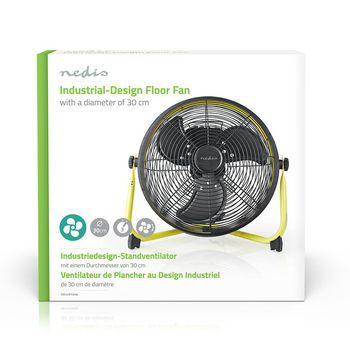 Golvfläkt med industriell design | Diameter 30 cm | 3 hastigheter | Gul/svart
