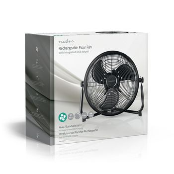 Rechargeable Floor Fan | 30 cm Diameter | Up to 10 Hours | USB Output | Black
