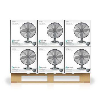 Ventilatore da tavolo in metallo | Diametro 30 cm | 3 Velocità | Funzione di Oscillazione | Cromatura