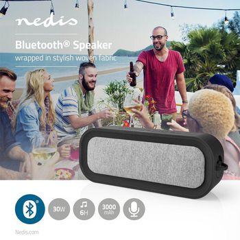 Fabric Bluetooth® Speaker   30 W   Up to 6 Hours Playtime   Waterproof   Grey / Black