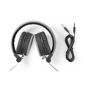 Fabric Wired Headphones | On-Ear | 1.2 m Audio Cable | Grey / Black