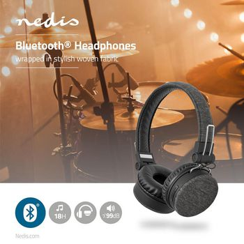 Fabric Bluetooth® Headphones | On-Ear | 18 hours playtime | Anthracite / Black