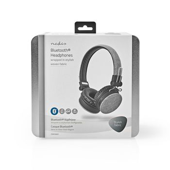 Fabric Bluetooth® Headphones | On-Ear | 18 Hours Playtime | Grey / Black