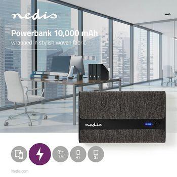 Fabric Powerbank | 10,000 mAh | 2x USB-A 2 A (max) | Black