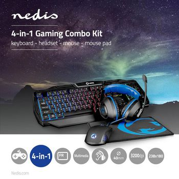 Gaming Combo Kit   4-in-1   Keyboard, Headset, Mouse and Mouse Pad   French Layout   Black