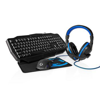 Gaming Combo Kit | 4-in-1 | Keyboard, Headset, Mouse and Mouse Pad | Nordic Layout | Black