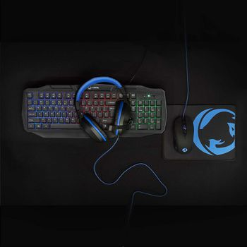 Gaming Combo Kit | 4-in-1 | Keyboard, Headset, Mouse and Mouse Pad | US International Layout | Black
