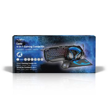Gaming Combo Kit | 4 in 1 | Toetsenbord, Koptelefoon, Muis, Muismat | Amerikaanse Internationale Indeling | Zwart