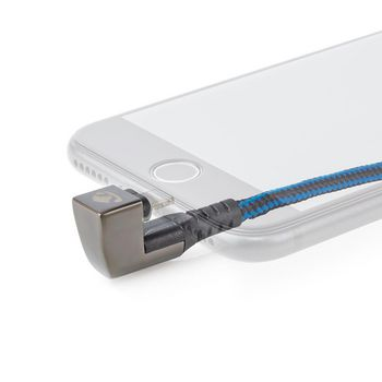 USB-Kabel | Apple Lightning 8-Pin | USB-A Stecker | Vernickelt | 1.00 m | rund | Geflochten / Nylon | Space Grau | Verpackung mit Sichtfenster