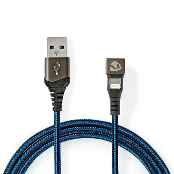 Sync and Charge Cable | USB-A Male to Apple Lightning 8-pin Male | Gaming connector 180° | 2.0 m | Round | Braided | Black - Blue