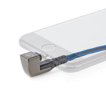 Cable de Carga y Sincronización | USB-A Macho a Lightning de Apple Macho de 8 Pines | Conector para Juegos de 180° | 2,0 m | Redondo | Trenzado | Negro-Azul