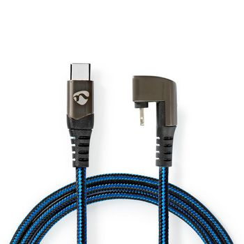 Sync and Charge Cable |USB-C™ Male to Apple Lightning 8-pin Male | Gaming connector 180° | 1.0 m | Round | Braided | Black-Blue
