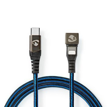 Data- en oplaadkabel | USB-C-™ Male naar Apple Lightning 8-pins Male | Gaming connector 180° | 2,0 m | rond | gevlochten | zwart-blauw
