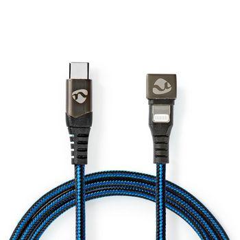 Sync- und Ladekabel | USB-C™-Stecker zu Apple Lightning 8-poliger Stecker | Gamingstecker um180 Grad gedreht | 2,0 m | Rund | Ummantelt | Schwarz/Blau
