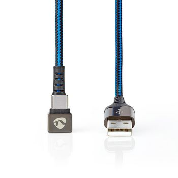 USB 2.0 Cable | A Male to Type-C™ Male | Gaming connector 180° | 1.0 m | Round | Braided | Black-Blue