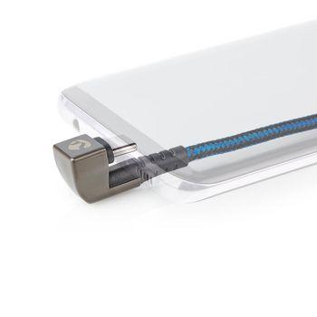 USB 2.0-Kabel | A-Stecker auf Typ C™-Stecker | Gamingstecker um 180 Grad gedreht | 1 m | Rund | Ummantelt | Schwarz/Blau