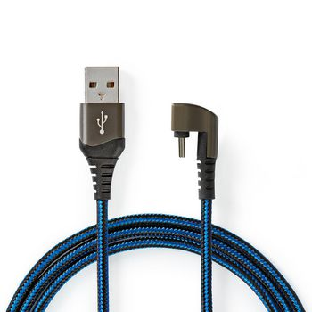 USB 2.0 Cable | A Male to Type-C™ Male | Gaming connector 180° | 2.0 m | Round | Braided | Black-Blue