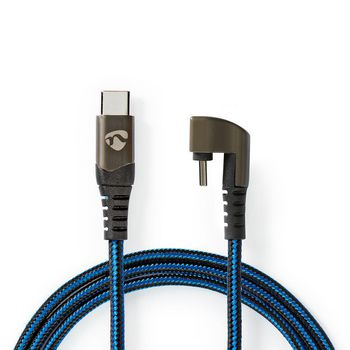 USB Cable | USB 2.0 | USB Type-C™ Male | USB Type-C™ Male | 480 Mbps | Gold Plated | 1.00 m | Round | Braided / Nylon | Black/Blue | Cover Window Box