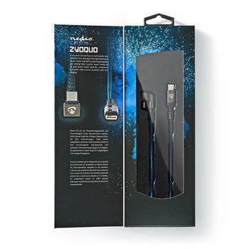 USB 2.0 -Kaapeli | Type-C™-Urosliitin - Type-C™-Urosliitin | Peliliitin 180° | 2,0 m | Pyöreä | Punottu | Sininen/Musta