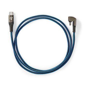 USB Cable | USB 2.0 | USB Type-C™ Male | USB Type-C™ Male | 480 Mbps | Gold Plated | 2.00 m | Round | Braided / Nylon | Black/Blue | Cover Window Box