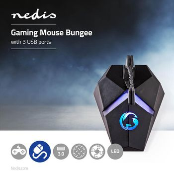Gaming Mouse Bungee | 3 USB Ports | Flexible Clamp | Backlit lights