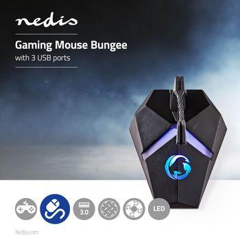 Kabelhållare för gaming mus | 3 USB-portar | Flexibel klämma | Bakgrundsbelysning