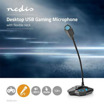 Desktop Gaming Microphone | Gooseneck | USB | Mute Button | 3.5 mm Stereo Audio Connector