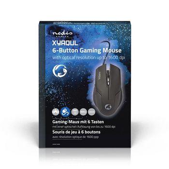 Gaming-Muis | Bedraad | Verlicht | 1600 dpi | 6 Knoppen