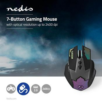 Gaming Mouse | Wired | Illuminated | 2400 DPI | 7 buttons
