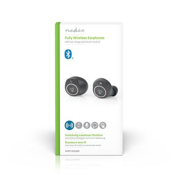 Volledig draadloze Bluetooth®-oordopjes | 3 uur afspeeltijd | Oorschelphaakjes | Spraakbediening | Aanraakbediening | Charging case | Zwart